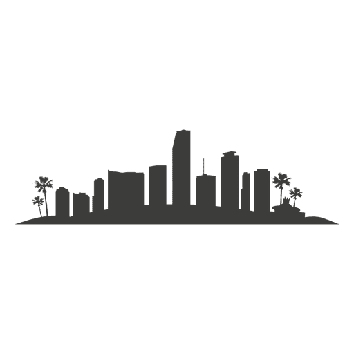 Miami skyline silhouette - Transparent PNG & SVG vector