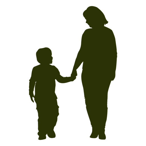 Mom and son silhouette