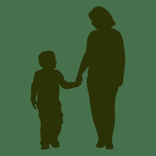 Silueta de madre e hijo