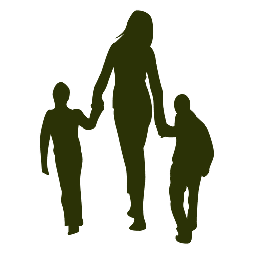Mom with children silhouette
