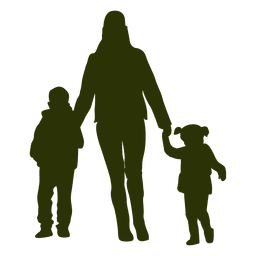 Mother childrens walking silhouette