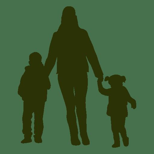 Madre e hijos caminando silueta