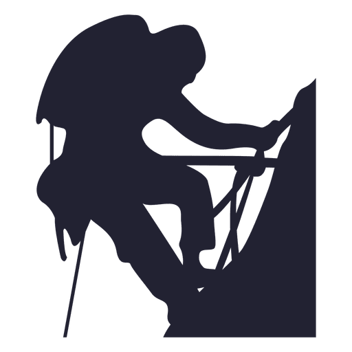 Mountain climbing silhouette 2 Transparent PNG