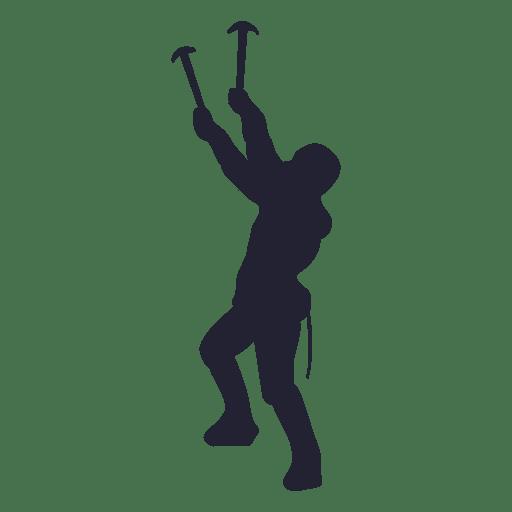 Mountain climbing silhouette 3 Transparent PNG