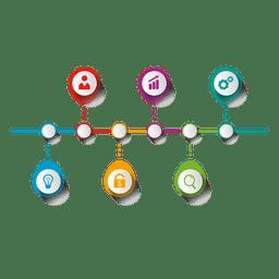 Infográfico elíptico multi-fase