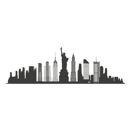 New York Skyline Silhouette  Transparent PNG