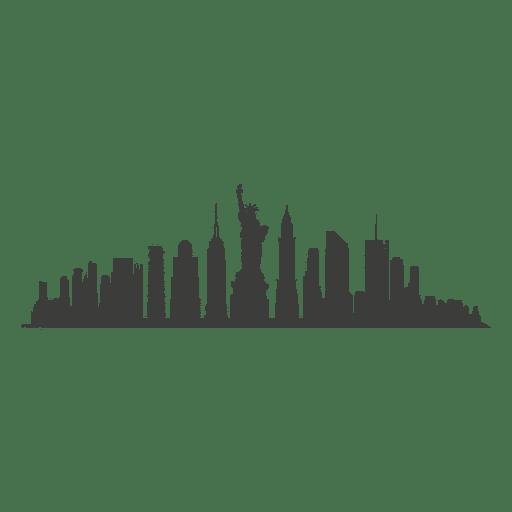 Silueta del horizonte de nueva york Transparent PNG