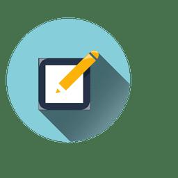 Ícone de círculo de caneta de bloco de notas