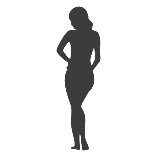 Nude girl silhouette in gray Transparent PNG