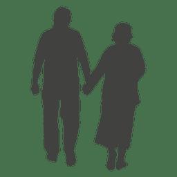 Casal de idosos andando