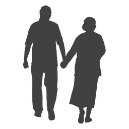 Old age couple walking