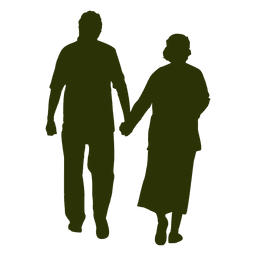 Silueta de pareja de edad