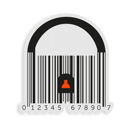 Orange codebar padlock