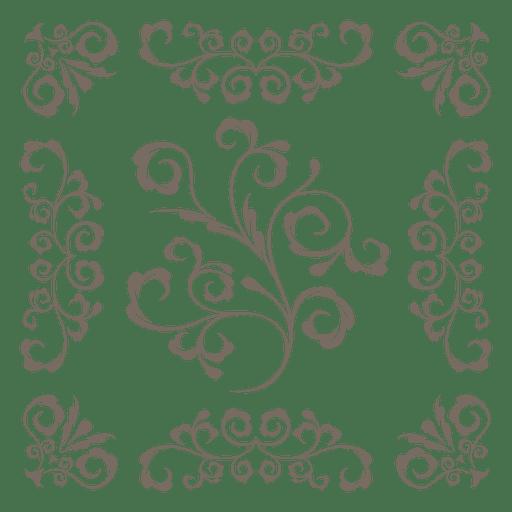 Marco floral adornado decoracion Transparent PNG