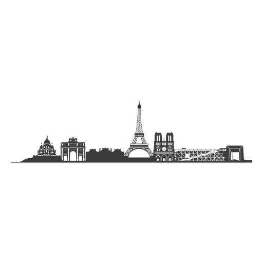 Paris skyline silhouette Transparent PNG