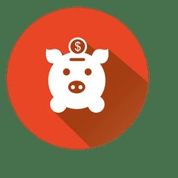 Pig bank circle icon