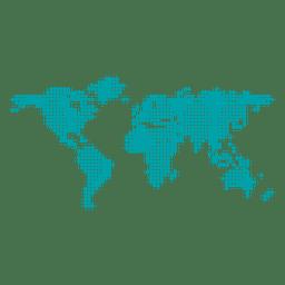 Pixel pontilhado mapa do mundo