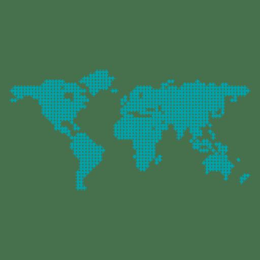 Mapa do mundo pontilhado de pixel Transparent PNG