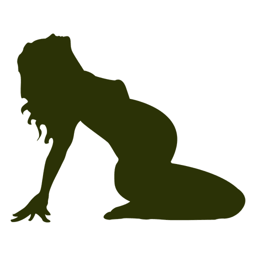 Pregnant woman silhouette in green Transparent PNG