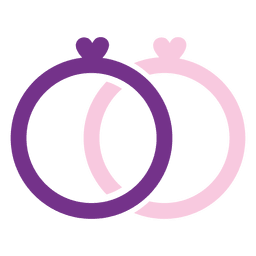 Purple pink wedding rings