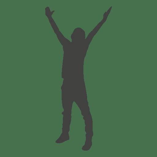 Levantando la silueta de celebración de manos