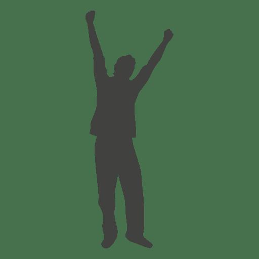 Levantando las manos silueta de celebración 1