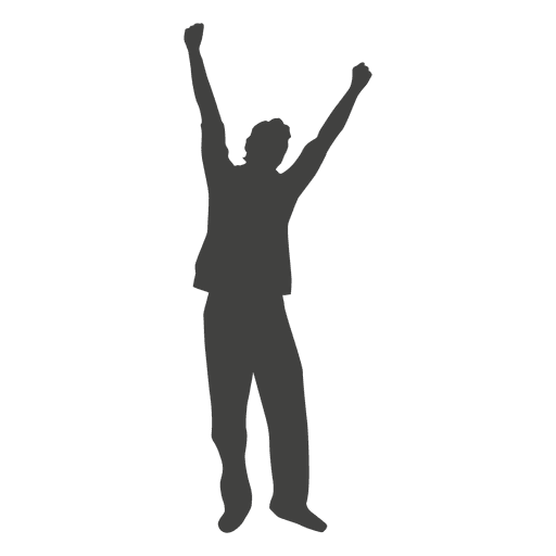 Raising hands celebration silhouette 1