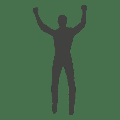 Rasing hands celebrating silhouette Transparent PNG