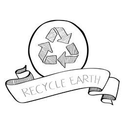 Recycle earth doodle ribbon