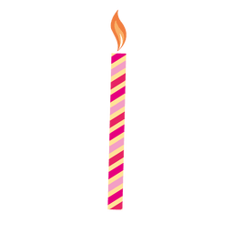 Red stripe birthday candle