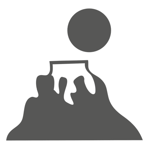 Rising sun on mountain icon Transparent PNG
