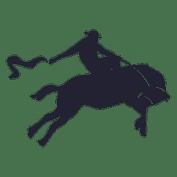 Silhueta de cowboy de rodeio