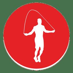 Icono de círculo de cuerda saltando