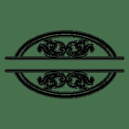 Insignia redonda de adorno floral 2