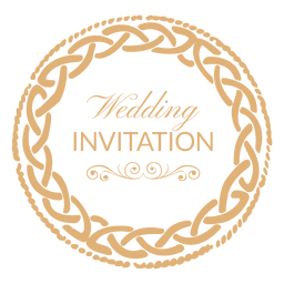 Round wedding invitation label 1