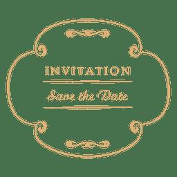 invitación de la boda etiqueta de la ronda 2