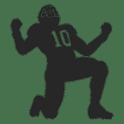 Jugador de rugby celebrando silueta