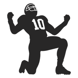 Rugby player celebrating silhouette