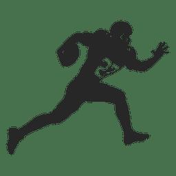 Jugador de rugby corriendo silueta