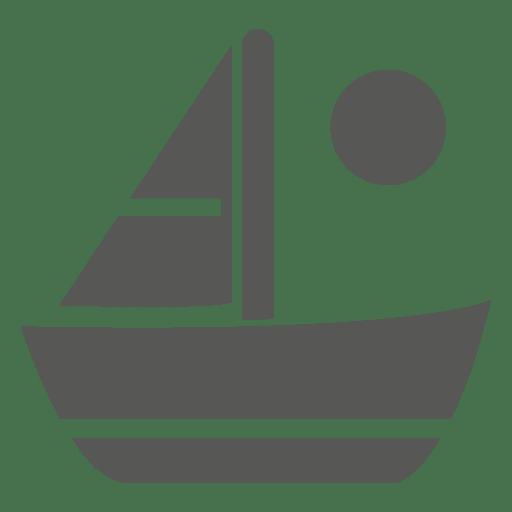 Sail boat sun icon