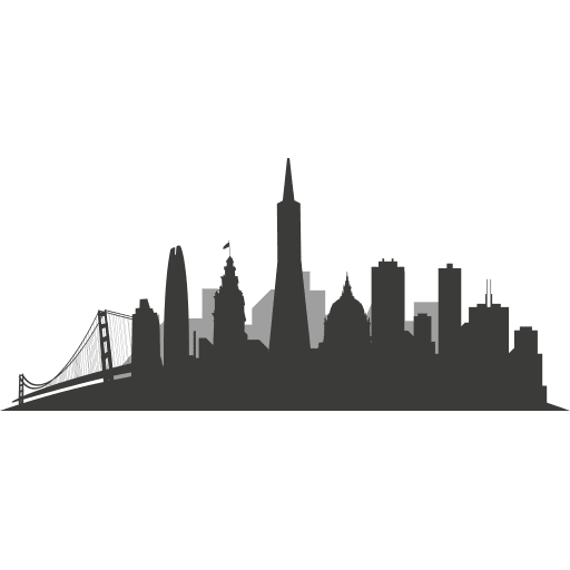 San francisco skyline silhouette Transparent PNG