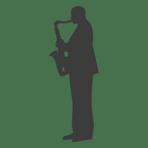 Silueta de músico de saxofón 2 Transparent PNG
