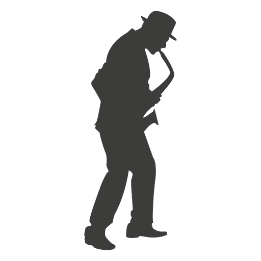 Saxophone musician silhouette 3 Transparent PNG