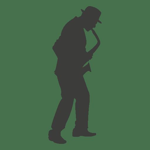 Silueta de músico de saxofón 3 Transparent PNG