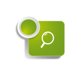 Icono de búsqueda pegatina cuadrada