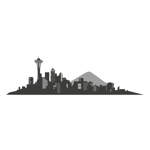 Seattle Skyline Silhouette Transparent PNG