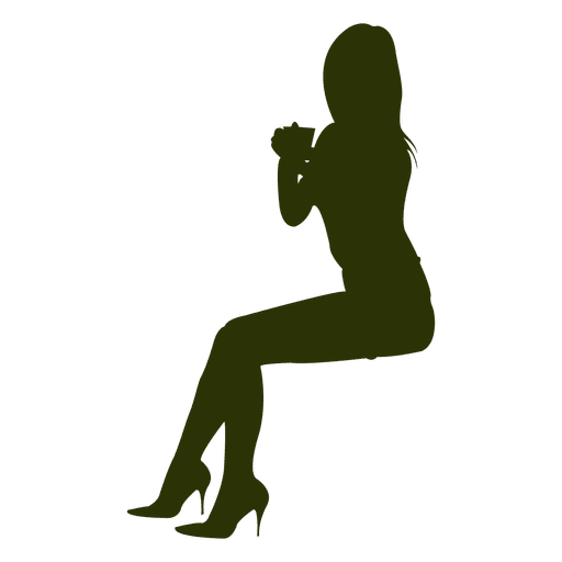 sexy girl sitting silhouette 2 png