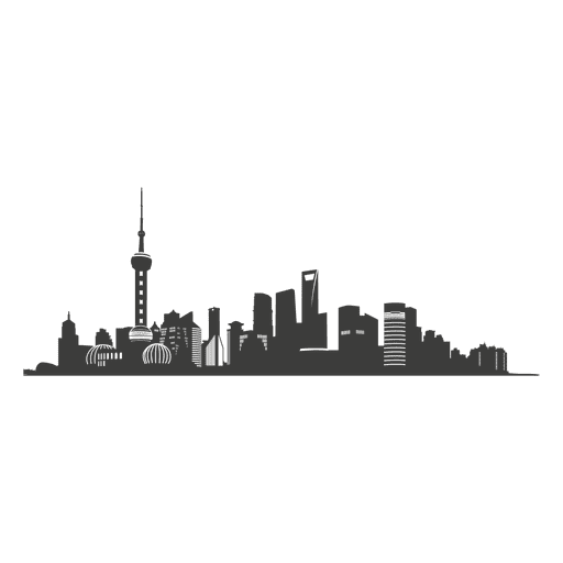 Shanghai skyline silhouette Transparent PNG