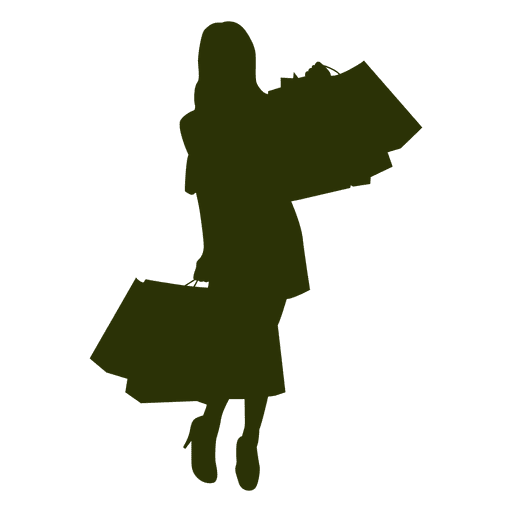Shopping girl fashion silhouette Transparent PNG