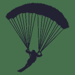 Silhueta de deslizamento de pára-quedas de esqui